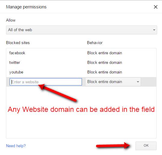 Chrome manage permissions