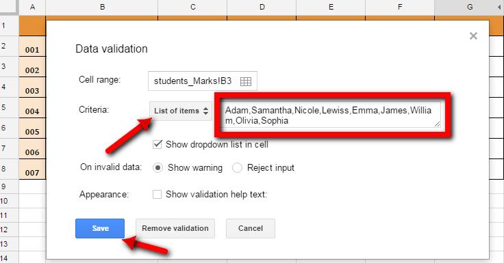 Data Vaidation List