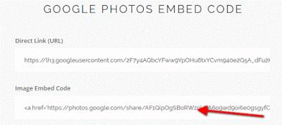 Google Photos Embed Code