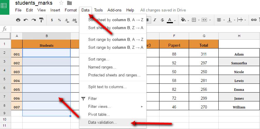 Google Sheet Data Validation
