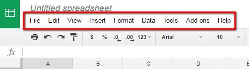 Google Spreadsheet Menu