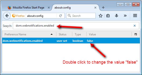 Mozilla Notification disable