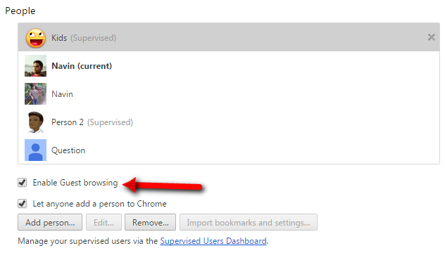 chrome Enable Guest Browsing